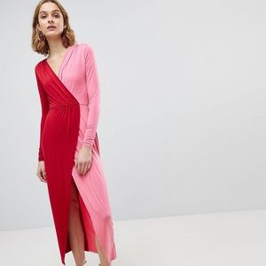 [ASOS] color block wrap maxi dress